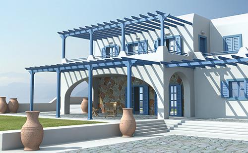 Η παραδοσιακή πέργκολα μπορεί να εφαρμοσθεί σε κατασκευές κτιρίων προσδίδοντας την αίσθηση του κλασικού.