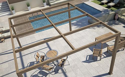 Μια μοντέρνα πρόταση στις πέργκολες αλουμινίου σε απλές και ευκρινείς γραμμές, που ταιριάζει απόλυτα σε κτίρια υψηλών αρχιτεκτονικών απαιτήσεων και προδιαγραφών