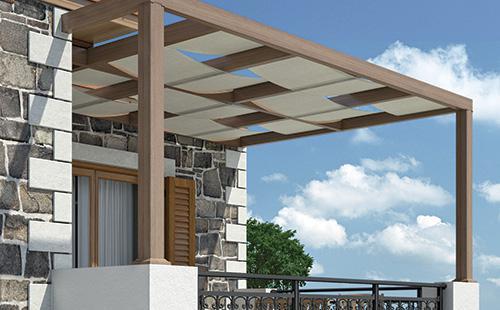 Ο συνδυασμός της μοντέρνας πέργκολας με πανί προσφέρει επιπλέον σκίαση σε πολλές εφαρμογές όπως σε μπαλκόνια, κήπους κ.ά.